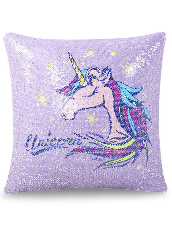Affordable 1PC Sequins Reversible Unicorn Pillow Case