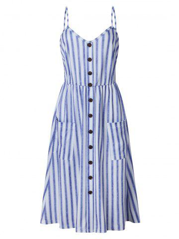 Striped Buttoned Cami Dress