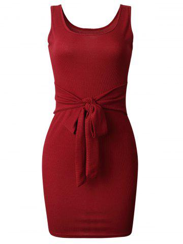Front Knot Knit Fitted Dress