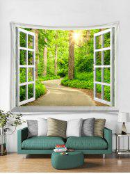 Window Forest Trail Print Tapestry Wall Hanging Art Decoration -