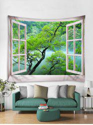 Window Mountain Print Tapestry Wall Hanging Art Decoration -