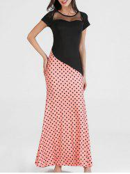 Mesh Panel Polka Dot Long Dress -