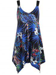 Floral and Leaf Plus Size Asymmetrical Tank Top -