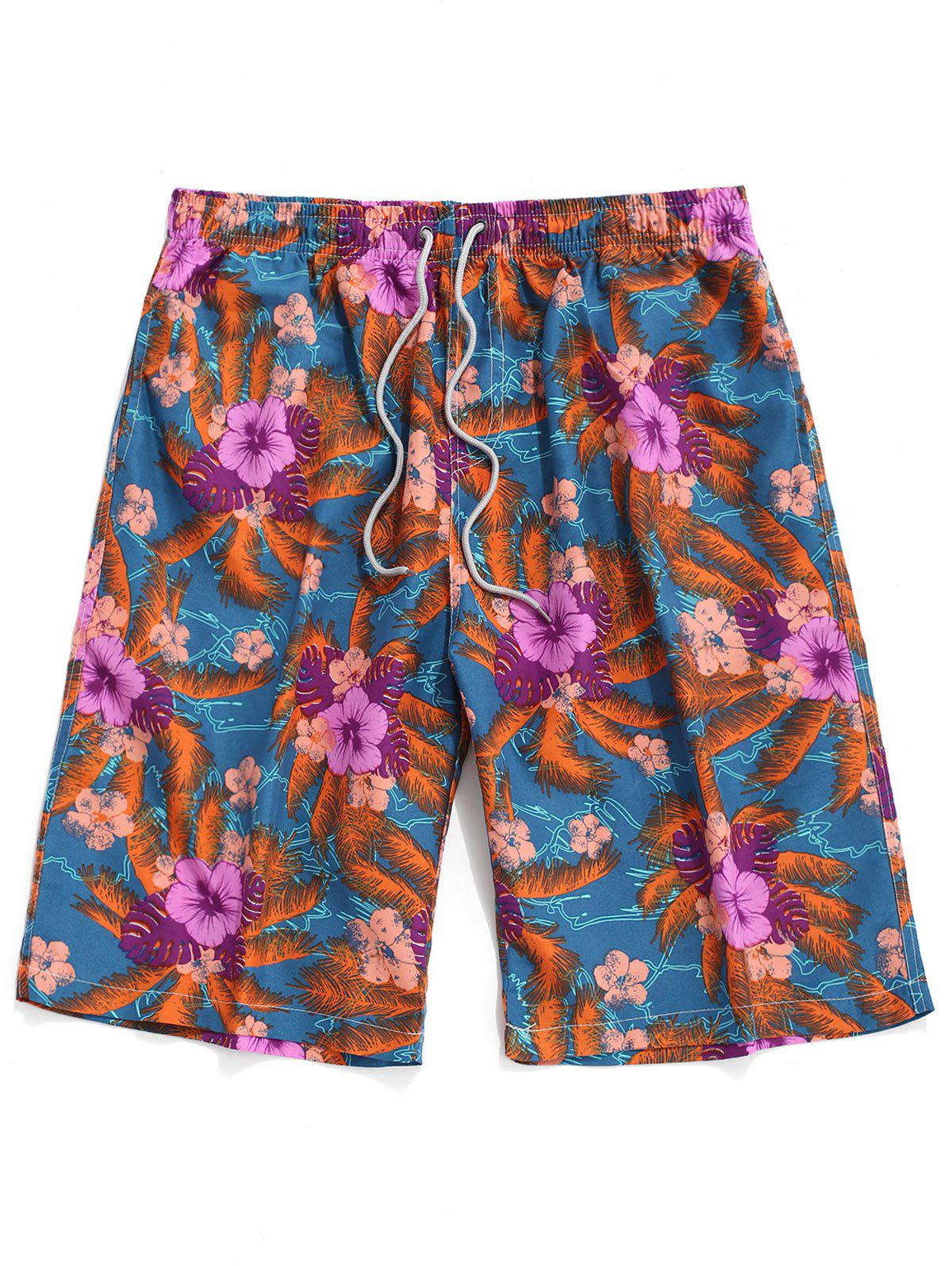 Trendy Floral Pattern Casual Board Shorts