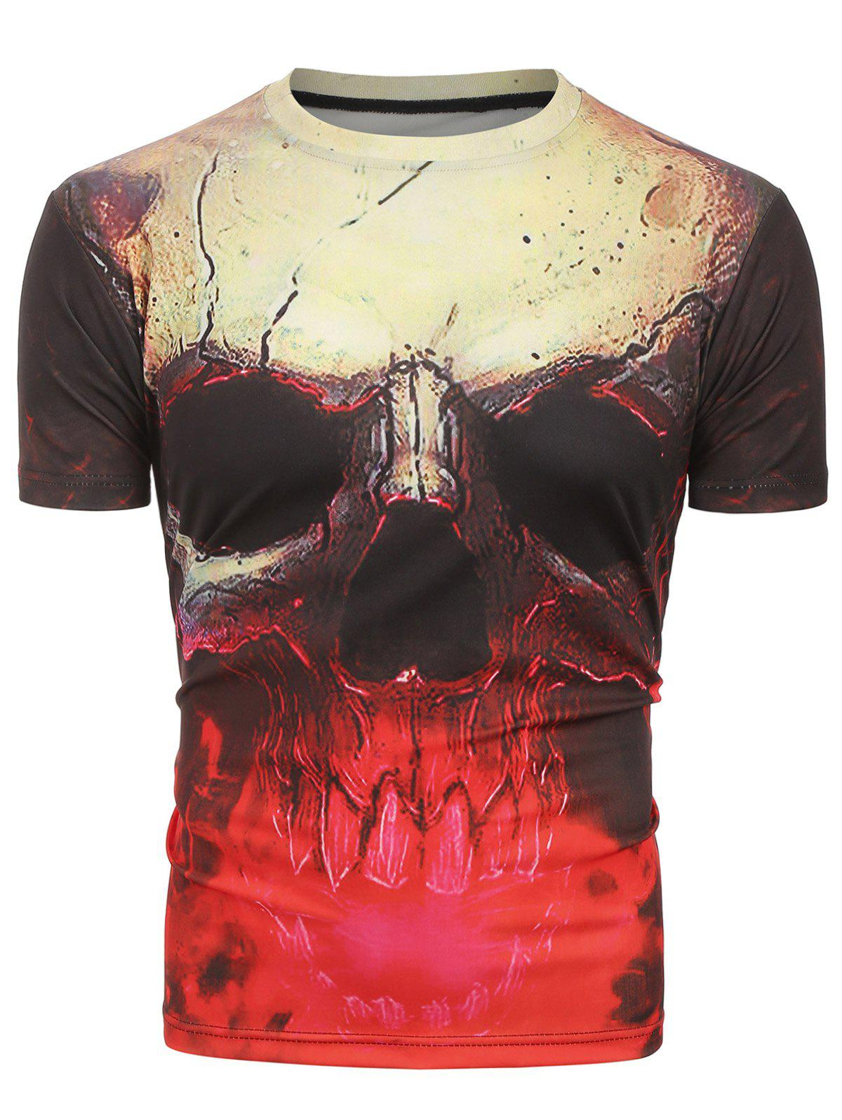 Chic 3D Skull Print Short Sleeves Tee
