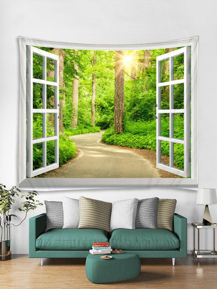 Chic Window Forest Trail Print Tapestry Wall Hanging Art Decoration