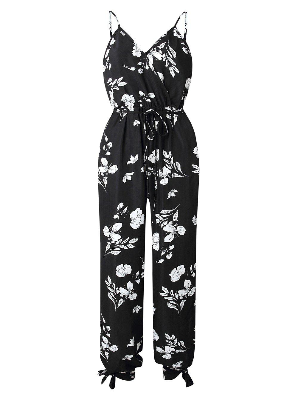 c32a9740e1 32% OFF] Flower Split Legs Cami Jumpsuit | Rosegal