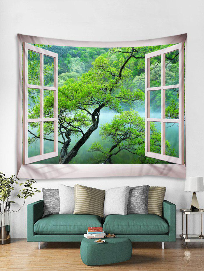 Fancy Window Mountain Print Tapestry Wall Hanging Art Decoration