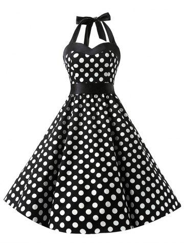 Vintage Polka Dot Lace Up Flare Dress
