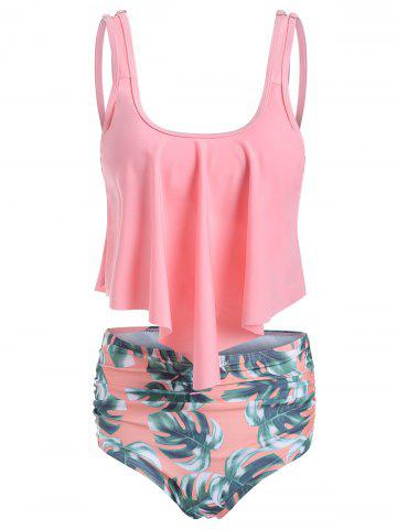 5b89f49911f81 Leaves Print U Neck Tankini Set