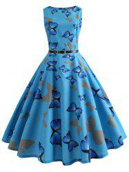 Vintage Butterfly Printed Pin Up Dress -
