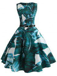 Vintage Palm Print Flared Dress -