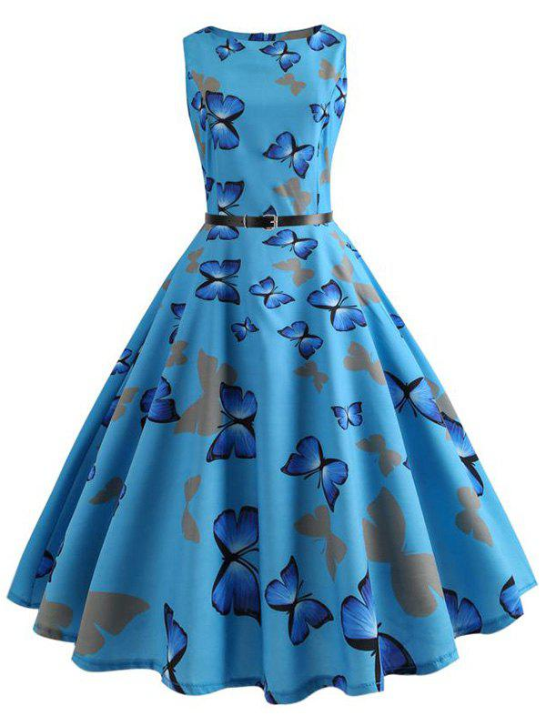 Latest Vintage Butterfly Printed Pin Up Dress