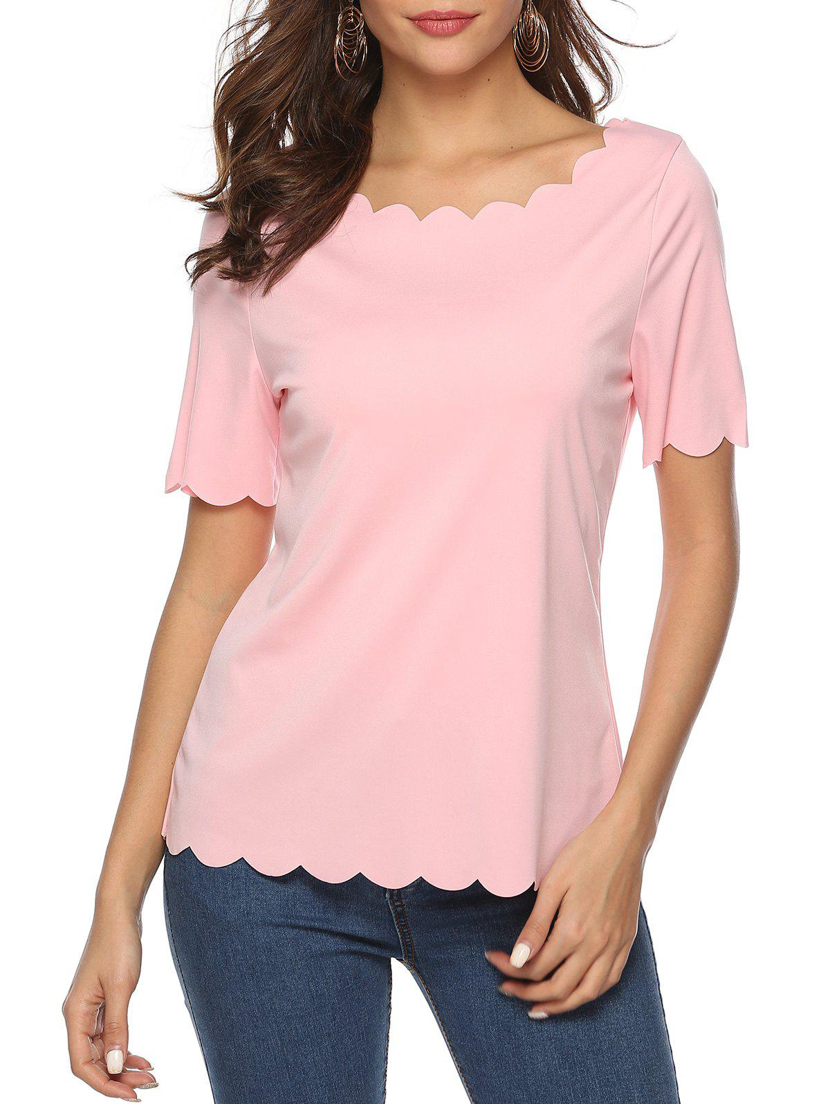 Fancy Scalloped Short Sleeve Tee