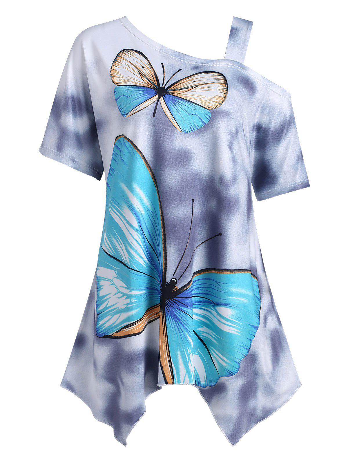 Plus Size Asymmetrical Butterfly Print Skew Neck T-shirt