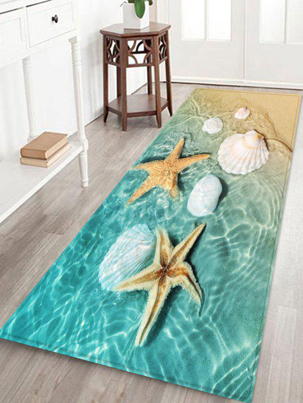 Hot Beach Starfish Conch Pattern Print Floor Mat