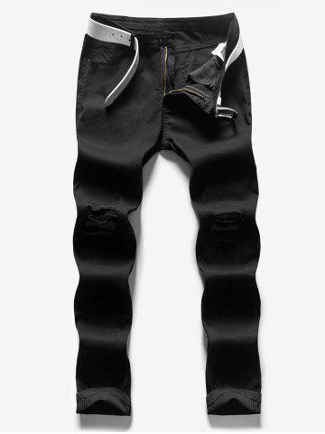 Long Solid Color Casual Ripped Jeans