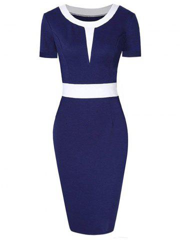 Two Tone Short Sleeve Bodycon Dress