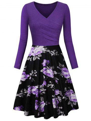6f68f91fffc Long Purple Print Dress - Free Shipping
