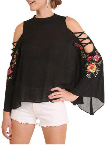 Embroidery Floral Cold Shoulder Blouse