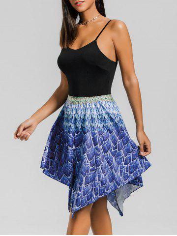 Printed Hanky Hem Skater Dress