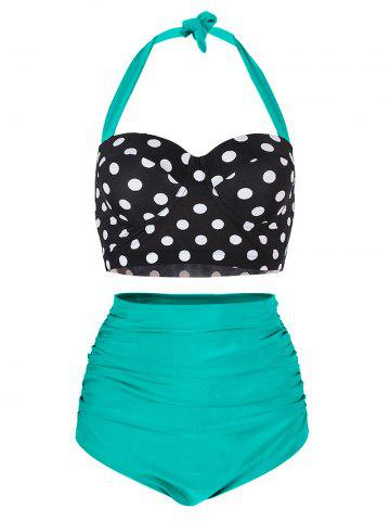 dac88f91cd Polka Dot Ruched Padded Bikini Set