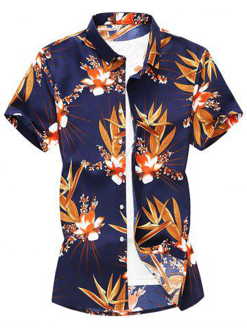 Floral Design Leisure Short Sleeves Shirt
