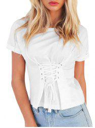 Lace-up Cuffed Sleeve T-shirt -