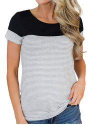 Striped Short Sleeve Color Block Tee -