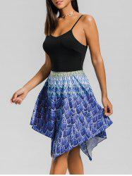 Printed Hanky Hem Skater Dress -