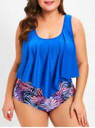 High Waist Plus Size Printed Tankini Set -