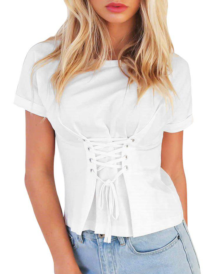 Online Lace-up Cuffed Sleeve T-shirt