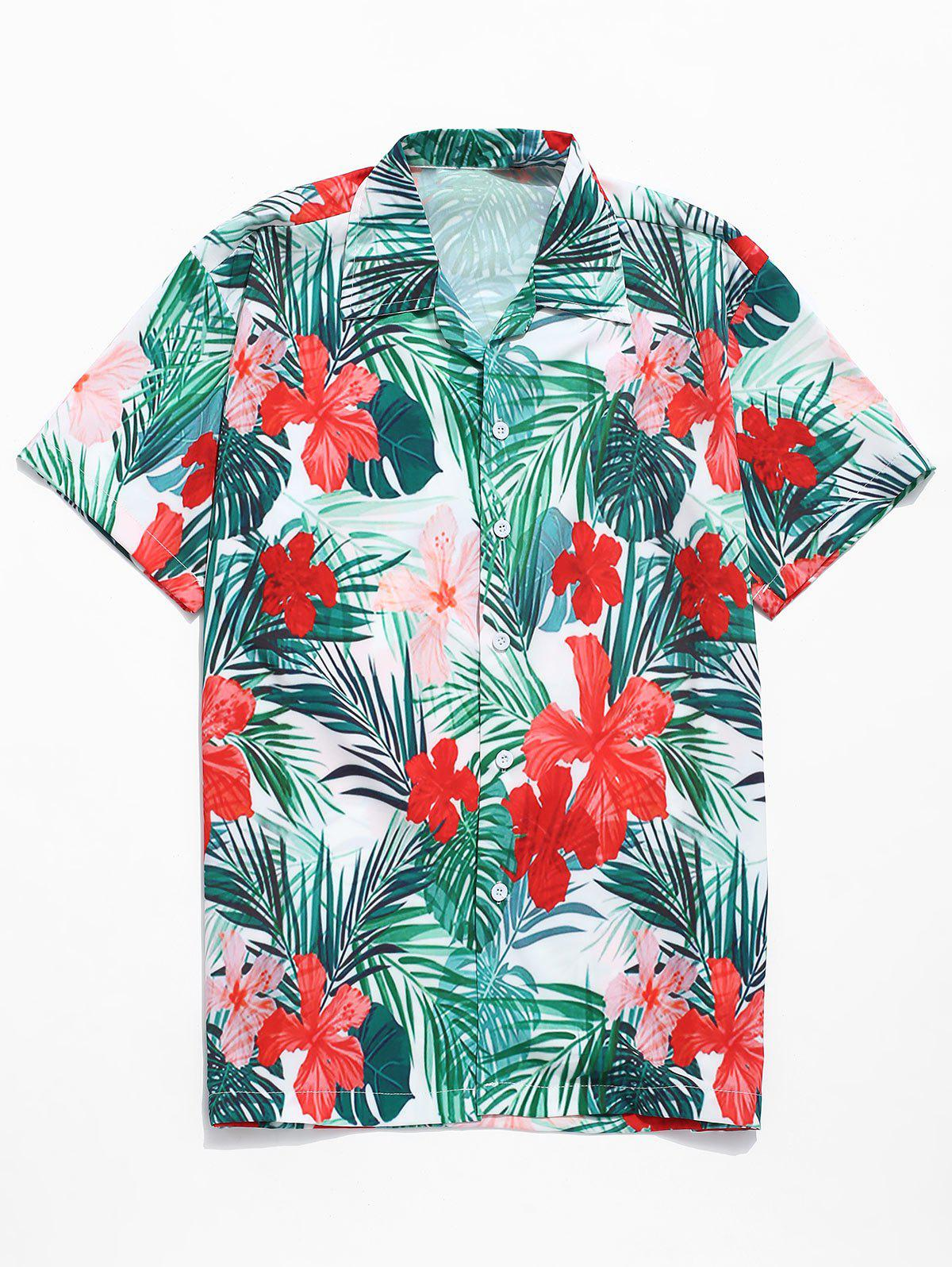 Allover Tropical Flowers Print Casual Shirt