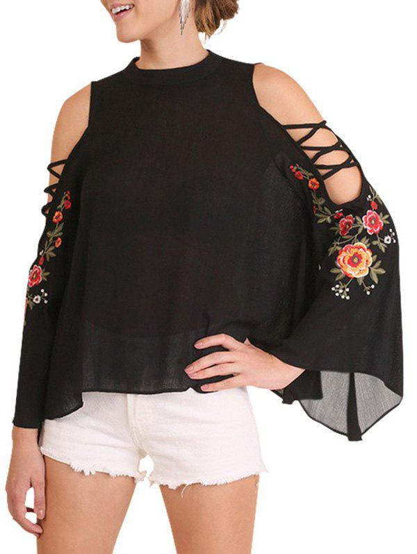 Fashion Embroidery Floral Cold Shoulder Blouse
