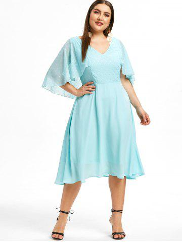 Flutter Sleeve Plus Size Glitter Embellished A Line Dress