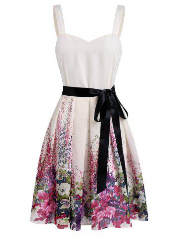 Sweetheart Neck A Line Printed Dress