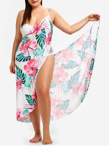 a32d0b2ecb8 Floral and Leaf Print Plus Size Cover Up Dress