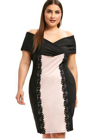 3975e0c77a1 Color Block Plus Size Floral Applique Bodycon Dress