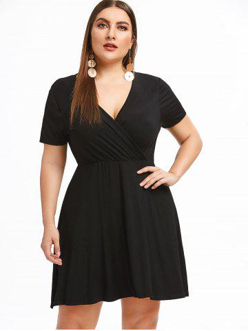 Surplice Neck Plus Size A Line Dress