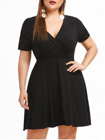 Surplice Neck Plus Size Line Dress - 1x BLACK