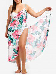 Floral and Leaf Print Plus Size Cover Up Dress -