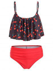 Cherry Print Cold Shoulder Bikini Set -