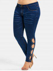 Rhinestone Cut Out Mid Waist Plus Size Jeans -