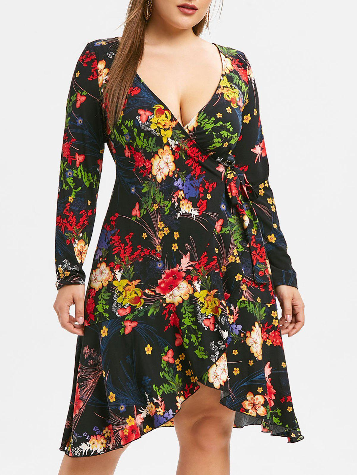 Plus Size Plant Print High Low Hem Wrap Dress Rosegal