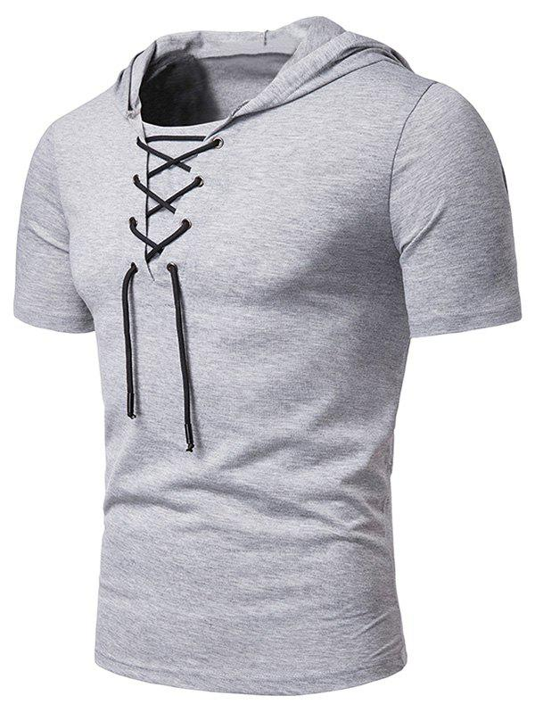 Buy Lace Up Hooded Short Sleeve T Shirt