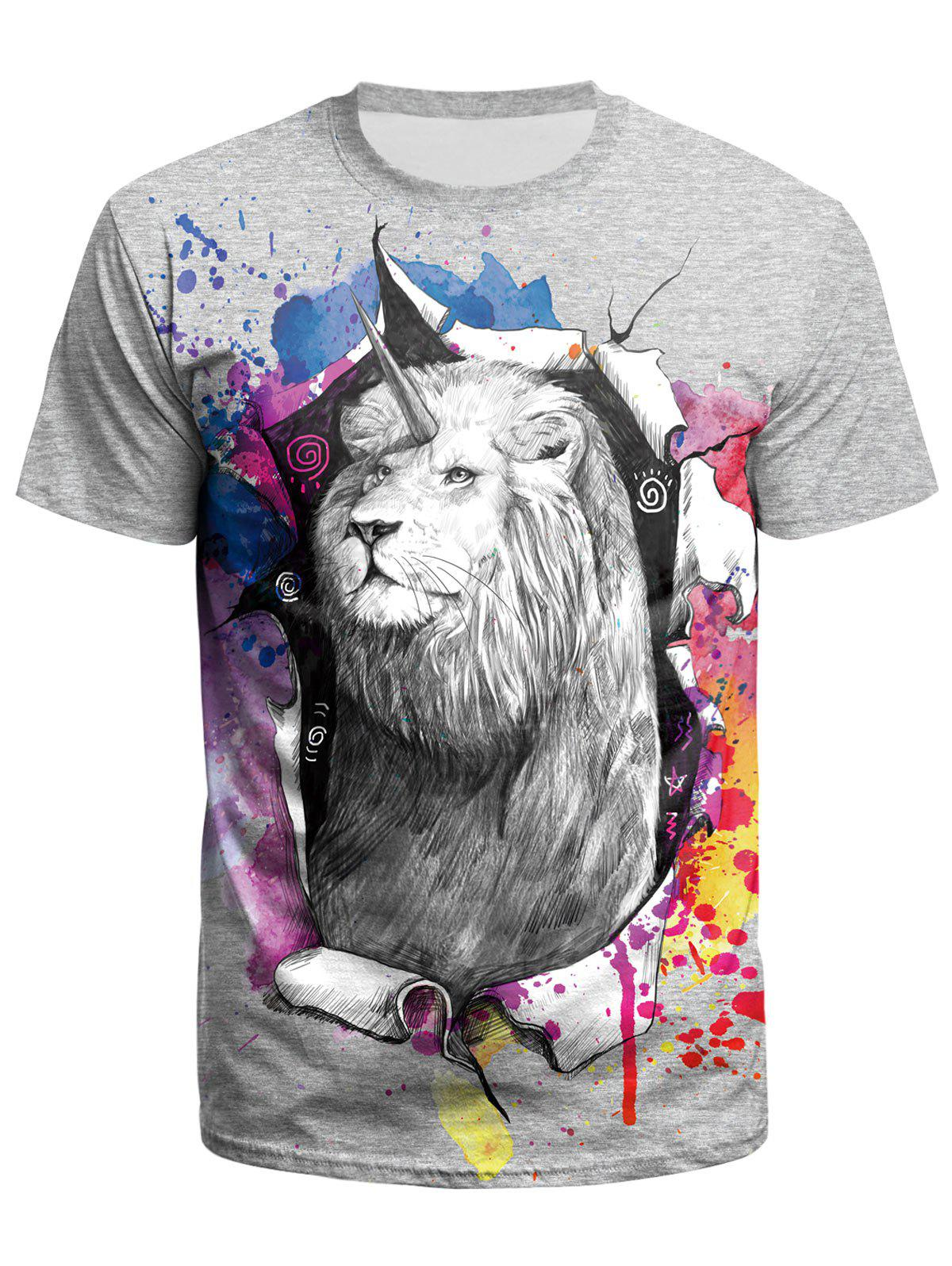 ff5f433890388 Discount Lion Printed Short Sleeves T-shirt