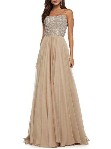 Sequined Cross Backless Long Party Dress