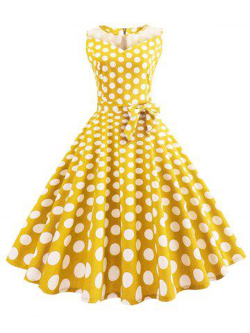 Mesh Panel Polka Dot A Line Dress