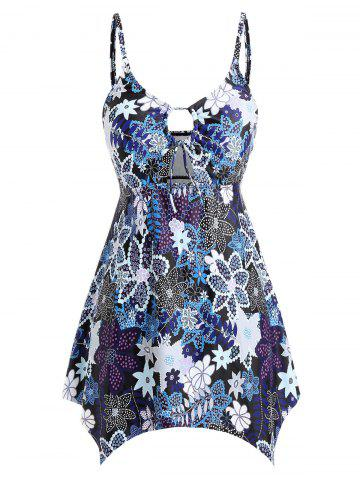 Plus Size Cut Out Printed Skirted Tankini Set