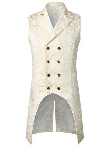 Double Button Decoration Printed Waistcoat